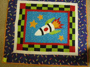 New home made Rocket baby quilt