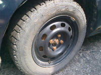 14 INCH WINTER TIRES ON RIMS FOR SALE. 195/65/14
