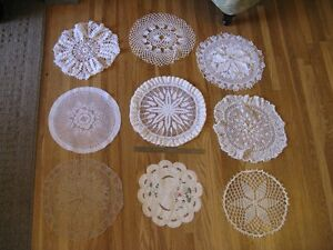 Set of 9 Large Assorted Doilies
