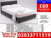 BRAND NEW SINGLE KING SIZE AND DOUBLE LEATHER BED Available with Mattress Epworth