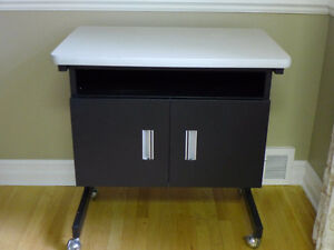 Pitney Bowes Printer Table Cabinet + 2 Padded Office Chairs