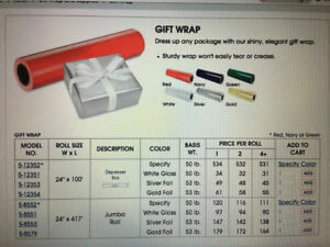 "Gift Wrap in Dispenser Box - 24""x100', Silver Foil & White Gloss"