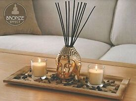 Bronza Buddha Reed Diffuser Set with Base Stones & High Quality Candles