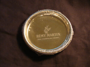 REMY MARTIN FINE CHAMPAGNE COGNAC SILVER PLATED BAR COASTERS