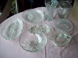 Collection of Clear Glass Platters, Bowls and Vases