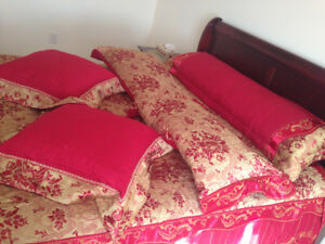 Custom made bed cover with pillows