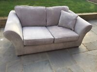 Silver Velour NEXT sofa bed and corner chase sofa footstall