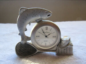 Gone Fishing Seagull Pewter small desk clock