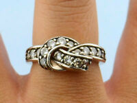 Bold Vintage Cubic Zirconia Knot .925 Silver Ring, Size 8 1/4