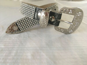 Western leather belt with clear crystals