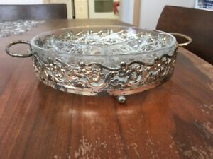 Crystal Relish Dish with a Silver Plated Holder