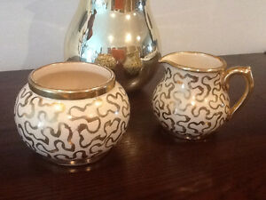 Antique Sudlows gold sugar and creamer set