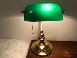 Vintage Banker's Lamp with Emerald Green Glass Shade
