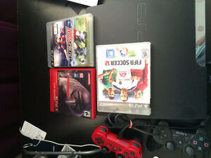 PS3 + 2 wireless controllers, and 3 games