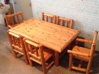 Custom Cedar Log Dining Table with 6 Chairs
