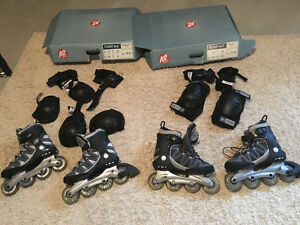 K2 rollerblades men size 7.5, women size 7- includes pads new