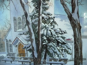 """Hand Signed and Titled Lithograph by Terry Kleemola """"The Chapel"""" Stratford Kitchener Area image 4"""
