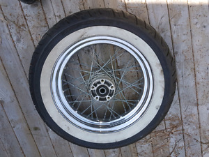"Harley Davidson 21"" front rim and 16"" rear wheel with tire"