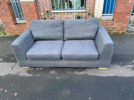 Grey material 3 seater sofa