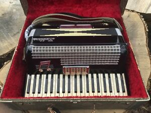 """Vintage Pollina Accordion with Case Made in Italy """" Exemplary"""""""