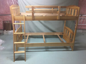 Wood twin over twin bunk bed and 4 drawer dresser