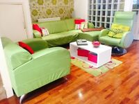 Dfs retro lime green contemporary three piece suite chase +1 arm chair.