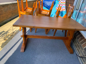 HAND MADE BEAUTIFUL HEAVY PINE TABLE & CHAIRS NEEDS TO GO ASAP