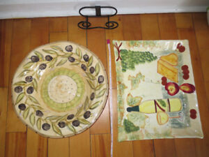 Ceramic Pasta Bowl and Ceramic Cheese/Cracker Serving Tray