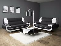 NEWBLACK & WHITE ITALIAN FAUX LEATHER CAROL 3 AND 2 SEATER SOFA IN DIFFERENT COLOURS