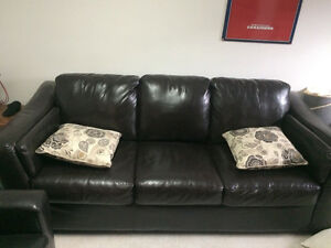 Sold as set Brown bonded leather  couch, love seat , chair sold West Island Greater Montréal image 2
