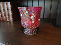 Red Mosaic Glass vase or decorative Container -Perfect Condition
