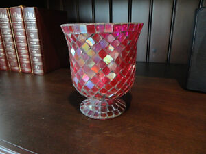 Red Mosaic Glass vase or decorative Container -Perfect Condition Kitchener / Waterloo Kitchener Area image 1