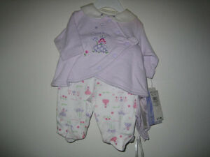NEW with tags girl's 3 piece outfit -preemie 0-7 lbs
