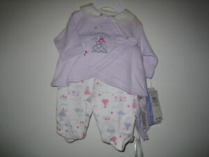 NEW with tags girl's & boys 3 piece outfits 0-7 lbs both for $15