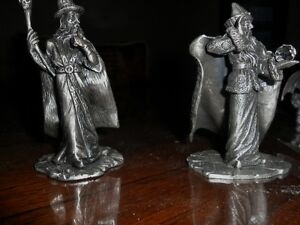 Pewter Dragons, Wizards, King Arthur with Crystal
