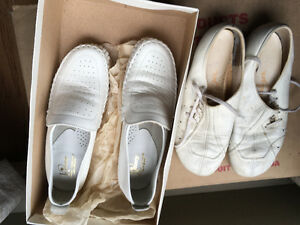 White nursing shoes.  Size 6