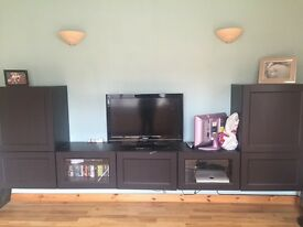 IKEA tv storage combination- brown/black