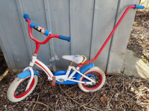"Little People 12"" 2 Wheeler Bicycle With Push Handle"