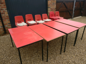 4 Tables and 22 stackable chairs