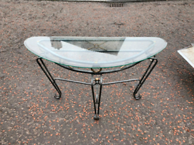 Wrought iron glass top half moon hall table £29