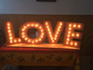 Light up wood LOVE sign