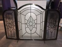 Pewter & Glass Fireplace Screen