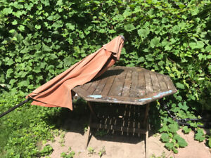 Free out door table chairs and umbrella.