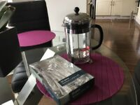 New boxed 24 piece cutlery set and large bodum coffee pot