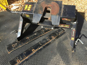 Fifth wheel hitch and rails
