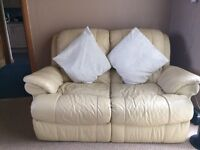 2 seater & 5 seater cream leather sofa with recliners