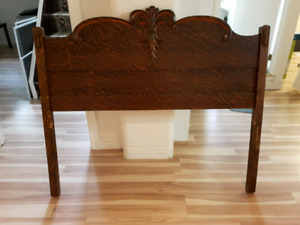 Antique ornate Oak bed headboard and footboard