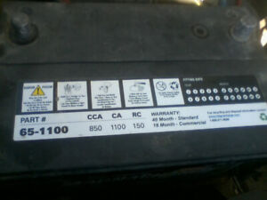 1 yr old magnacharge battery part number 65-1100, 850cca 1100 ca
