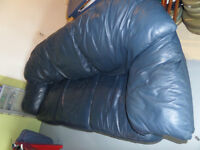 Blue leather couch and love seat