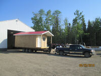 Truck and 30' tilt deck trailer with winch for hire.